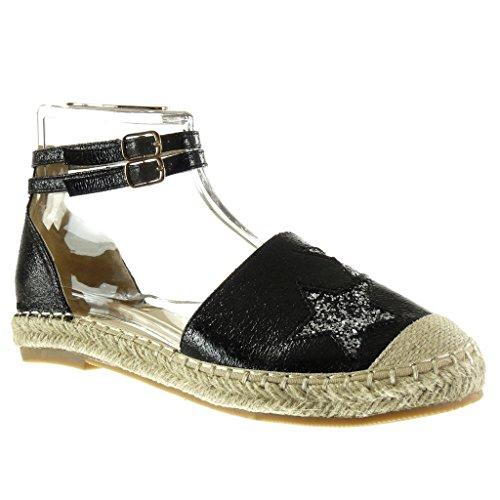Angkorly - Scarpe da Moda sandali Espadrillas donna stella paillette lucide Tacco a blocco 2.5 CM - Nero