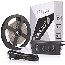 LEDMO Flexible LED Strip Light Kit,DC12V LED Light Strip,Super Bright 300 units SMD 2835 LEDs, Non-waterproof ,Cool White 6000K,16.4 Ft/5M,LED Tape+5A 12V Power Supply