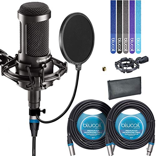 Audio-Technica AT2035 Large Diaphragm Studio Cardoid Condenser Microphone Bundle with Shock Mount, Blucoil Pop Filter, 2 20-Ft XLR Cable and 5-Pack of Cable  Ties ()