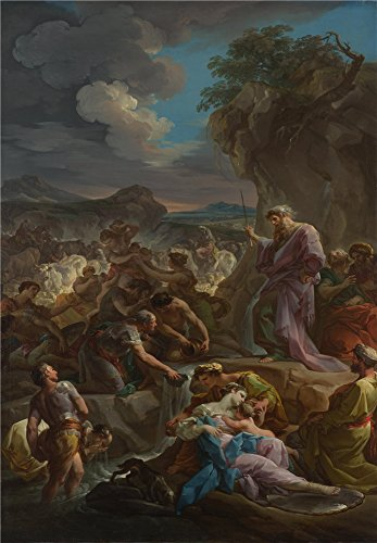 Perfect Effect Canvas ,the High Quality Art Decorative Prints On Canvas Of Oil Painting 'Corrado Giaquinto Moses Striking The Rock ', 30 X 43 Inch / 76 X 110 Cm Is Best For Study Decor And Home Artwork And Gifts