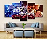 WUliuqi Home Decor Modular Canvas Picture 5 Piece Black Clover Asta Animation Poster Wall for Home Canvas Painting Poster