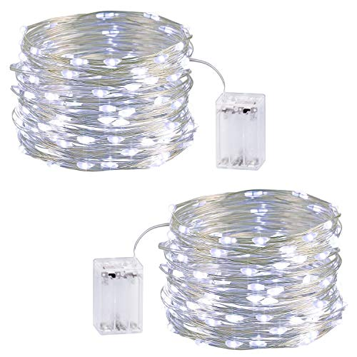 Fairy String Lights,2 Set Battery Silver Wire with 33ft 100 LED Firefly Lights Twinkle String Lights UL588 Approved for Patio, Garden, Yard, Square, Christmas, Wedding Decor (Cool White)