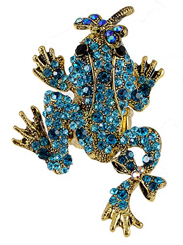 Alilang Antique Golden Tone Marine Blue Crystal Rhinestone Dragonfly Kisses Frog Toad Ring