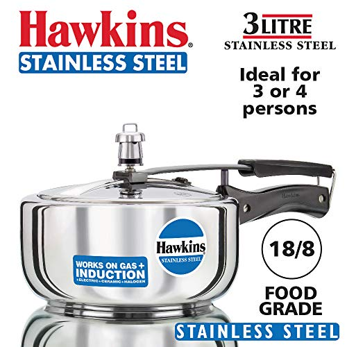 Hawkins Stainless Steel Wide Pressure Cooker, 3 Litres, Silver Price & Reviews