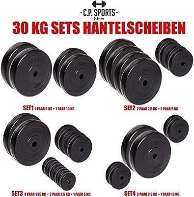 C.P. Sports - Juego de pesas de 30 kg, distintos discos, 30 mm, varios juegos a elegir, 2x 5 KG + 2x 10 KG