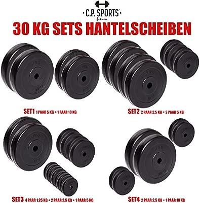 C.P. Sports - Juego de pesas de 30 kg, distintos discos, 30 mm ...