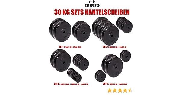 C.P. Sports - Juego de pesas de 30 kg, distintos discos, 30 mm, varios juegos a elegir, 2x 5 KG + 2x 10 KG: Amazon.es: Deportes y aire libre