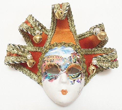 Ceramic Wall Mask (Orange Gold Brocade Jollini Miniature Ceramic Venetian Mask)