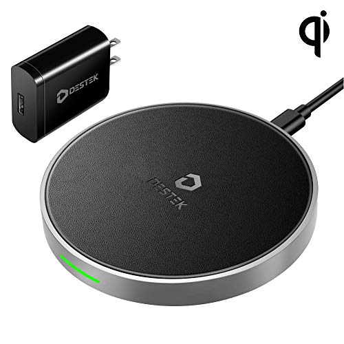 DESTEK Fast Wireless Charger for iPhone Xs –Wireless Charging Pad for iPhone&Samsung (7.5W for iPhone Xs Max/XR/XS/X/8/8 Plus,10W for S10/S10E/S9/S8/Note 9/8),5W for Others Qi Phones(w/18W Adapter)