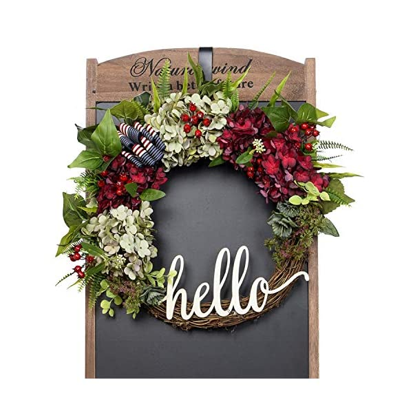 FAVOWREATH 2019 Vitality Series FAVO-W173 Handmade 17 inch Hello Letter,Hydrangea,Multi Flowers,Berry,Leaf Grapevine Wreath Summer/Fall Front Door/Wall/Fireplace Floral Hanger Home Every Day Decor