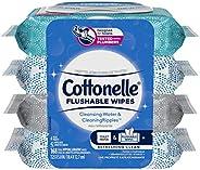 Flushable Wet Wipes, Cottonelle FreshCare, Biodegradable & Septic Safe, 4 packs of 42 (168 Wi
