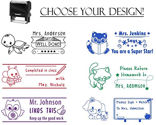 (Self Inking Personalized Customized Teacher Stamp Completed in Class Please Sign & Return Well Done Home Work Grading Stamp Stamper Custom Large Motivation Recognition)