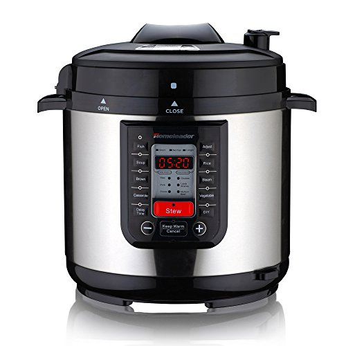 Homeleader K47-020 Electric Pressure Cooker with 8 Programmable Cooking Modes, 5.45 Quart(6L) Large Capacity and LED Display, 1000W, Black and Silver