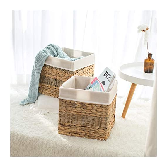 "StorageWorks Wicker Storage Baskets, 10.2""x10.2""x10.6"", 2-Pack - SPACE EFFICIENT: Collapsible design. STURDY: Hand woven over an iron frame. HOME DECOR: Versatile design fits well in your home. - living-room-decor, living-room, baskets-storage - 51C9rHy7K7L. SS570  -"