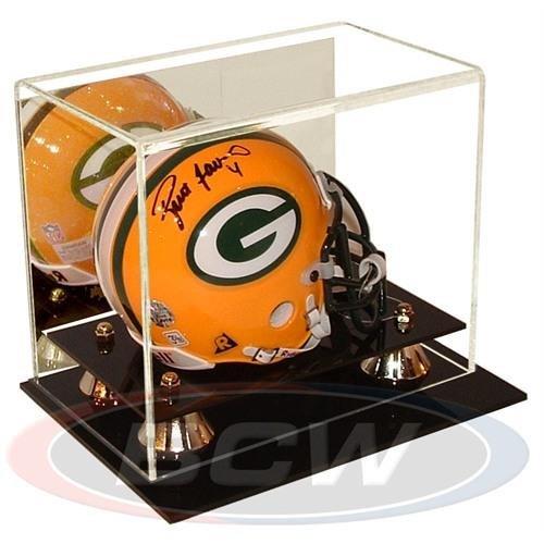 BCW Deluxe Acrylic Mini Helmet Holder Display - With Mirror - Football Helmet, Goalie Mask, Racing Helmet - Sports Memoriablia Display Case - Sportscards Collecting Supplies by BCW ()