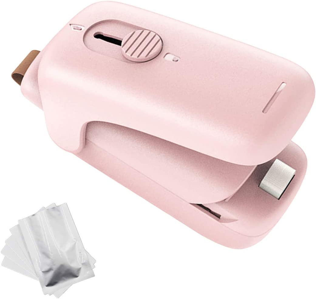 Bag Heat Sealer Mini, Portable Hand-held Plastic Heat Seal Machines, 2 in 1 Mini Heat Chip Bag Sealer with Cutter for Food Saver, Snack Plastic Bags, Cookie Bags with 5 pcs food bags - Pink