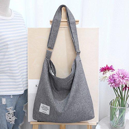 Fanspack Women's Canvas Hobo Handbags Simple Casual Top Handle Tote Bag Crossbody Shoulder Bag Shopping Work Bag by Fanspack (Image #2)