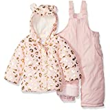 Carter's Baby Girls 2-Piece Heavyweight Printed Snowsuit with Ears, Leopard Light Pink, 24M