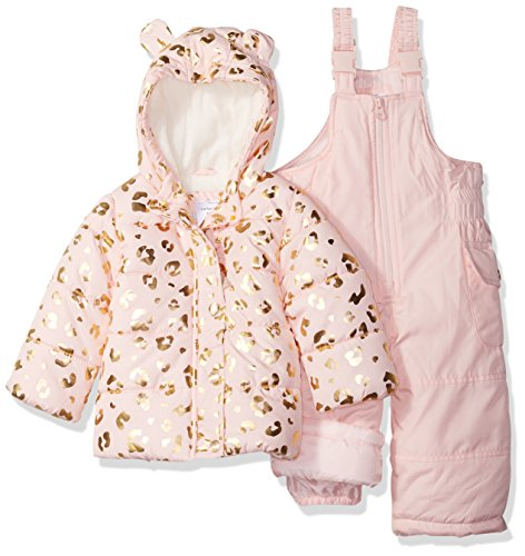 Carter's Baby Girls 2-Piece Heavyweight Printed Snowsuit with Ears, Leopard Light Pink, 18M