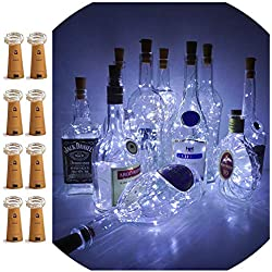 LoveNite Wine Bottle Lights with Cork, 8 Pack Battery Operated 15 LED Cork Shape Silver Wire Colorful Fairy Mini String Lights for DIY, Party, Decor, Christmas, Halloween,Wedding (Cool White)