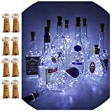 LoveNite Wine Bottle Lights Cork, 8 Pack Battery Operated 15 LED Cork Shape Silver Wire Colorful Fairy Mini String Lights DIY, Party, Decor, Christmas, Halloween,Wedding (Cool White)