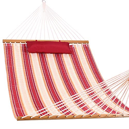 Lazy Daze Hammocks Double Quilted Fabric Spreader Bar Heavy Duty Stylish Hammock Swing with Head Pillow for Two Person, Cherry Stripe (Large Quilted Hammock Fabric)