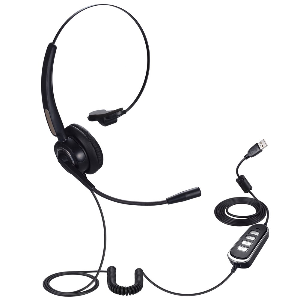 auriculares de negocios Auriculares de diadema universal para ordenador y tel/éfono PChero RJ9 con micr/ófono ideal para centro de llamadas Skype Webinar tel/éfono