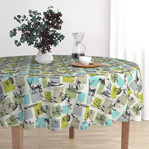 Roostery Round Tablecloth - Retro Camping Woodland Deer Canoe Tree Camping Forest Buck Fire Campfire by Elizabeth Hale Design - Cotton Sateen Tablecloth 90in