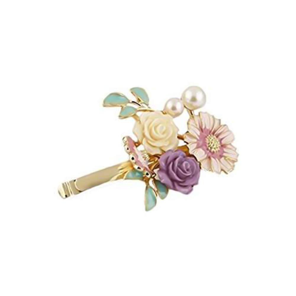 Wuudi Retro Bohemia Pearl Flower Hair Clip Hairpin Fashionable Female Bangs Clip Hair Side Clip Head Ornament Accessories