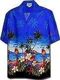 Pacific Legend Men's Parrots Beach Border Hawaiian Shirt-AMAZON3468BLUEXL