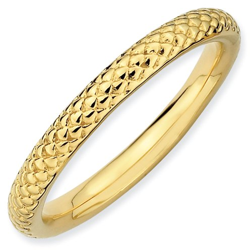 2.25mm Sterling Silver Stackable Expressions Gold Plated Snake Scale Textured Ring