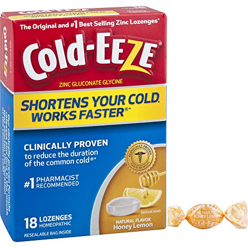 Cold-Eeze Cold Remedy Lozenges Honey Lemon 18 Count - The original and best-selling zinc lozenges Clinically Proven, Shortens Colds, Use at 1st Sign, Homeopathic, Multi-Symptom Relief, For (Cold Eeze Cough Drops Box)