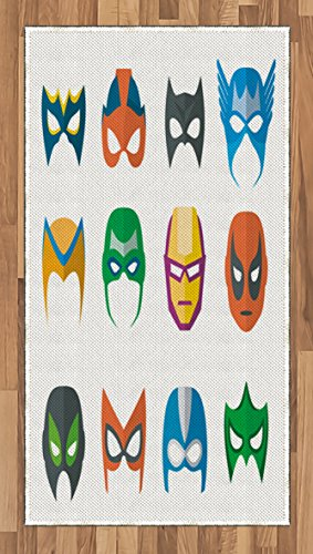 [Superhero Area Rug by Lunarable, Hero Mask Female Male Costume Power Justice People Fashion Icons Kids Display, Flat Woven Accent Rug for Living Room Bedroom Dining Room, 2.6 x 5 FT, Multicolor] (Female 80's Icons Costume Ideas)
