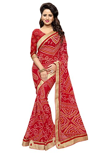 Mirchi Fashion Women's Faux Georgette Bandhani Bandhej Print Saree (2464_Red) (Print Saree)