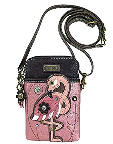 (Chala Crossbody Cell Phone Purse-Women PU Leather Multicolor Handbag with Adjustable Strap - Flamingo Pink)