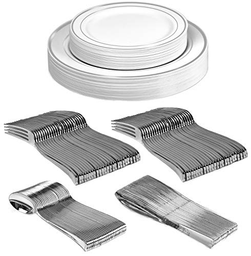 Silver Party Dinnerware Set   Heavy Duty Plastic Plates & Silverware   Wedding Tableware includes 50 Forks, 25 Spoons, 25 Knives, 25 Dinner Plates, 25 Dessert Plates (150 pieces) ()