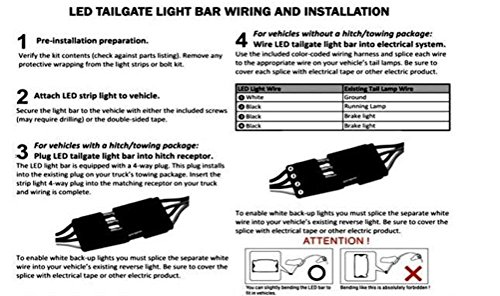 iPerfect 60  Redwhite Tailgate LED Strip    Light    Bar Truck