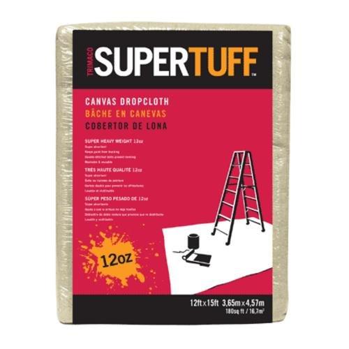 Trimaco SuperTuff 12 oz thick Premium Weight Canvas Drop Cloth, 12-feet x 15-feet