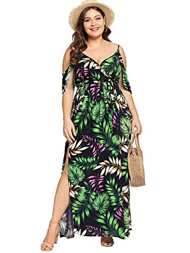 Milumia Women's Plus Size Cold Shoulder Floral Slit Hem Tropical Summer Maxi Dress Green-2 2XL