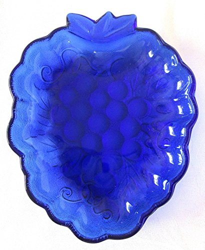 (Glass Candy Dish, Cobalt Blue, Grape Pattern 7 X)