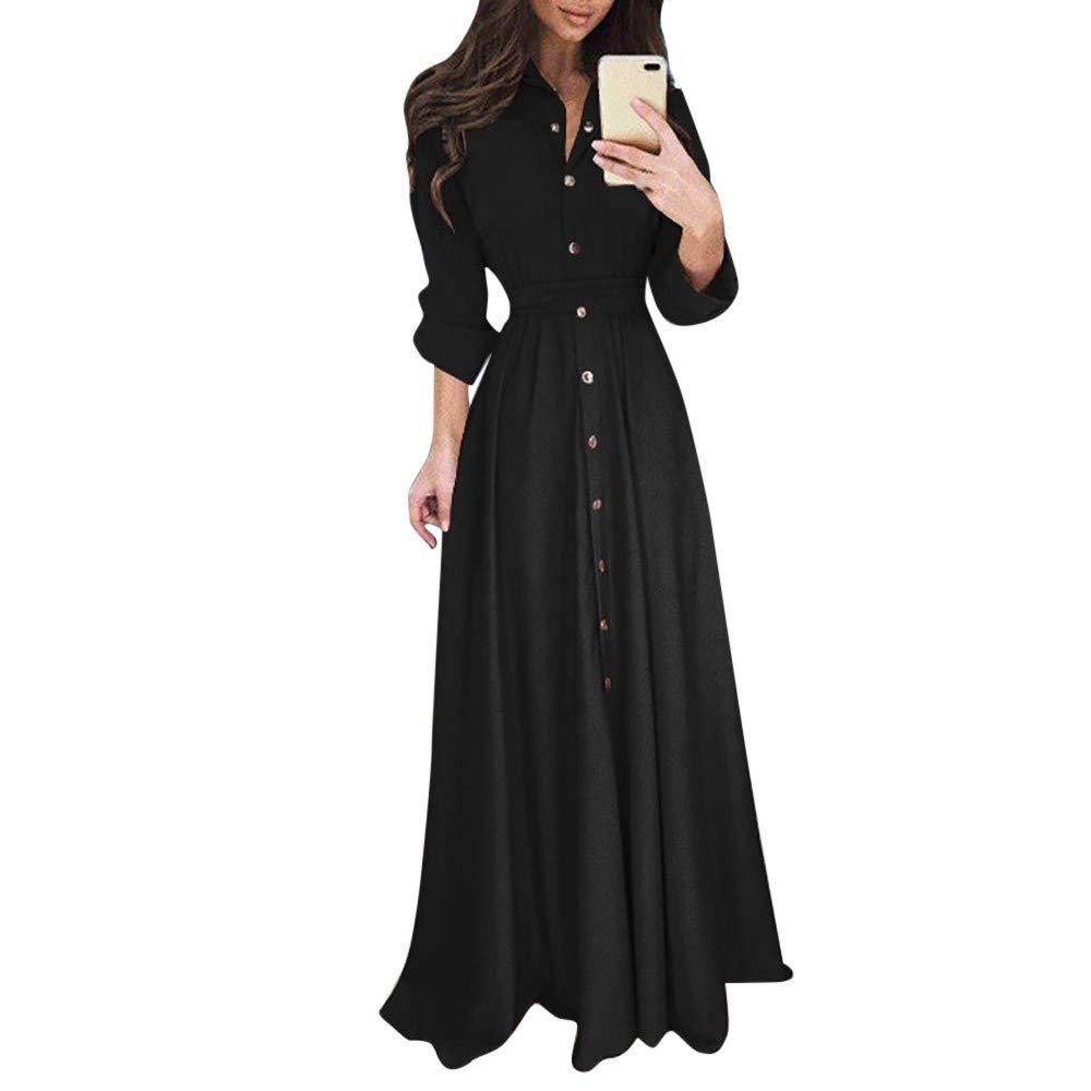 Qvwanle Womens Lady Casual Tie Waist Fashion Long Sleeve Lapel Maxi Long Dress Solid Shirt Dress (L, Blue)