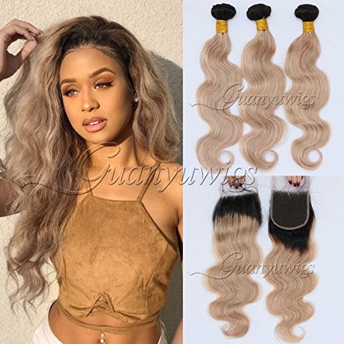 Guanyuwigs 8A Brazilian Body Wave Remy Virgin Human Hair Extensions 3 Bundles with 4x4 Lace Closure Ombre #1B/27 Honey Blonde (20+22 24 26) by Guanyuwigs