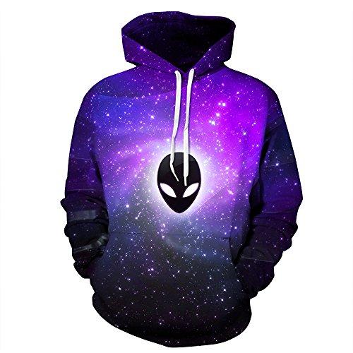 NEWCOSPLAY Unisex Athletic Hooded Sweatshirts 3D Digital Printed Hoodies Colorful Galaxy Pattern Big Pocket Sweaters (S/M, Sky Ghost)