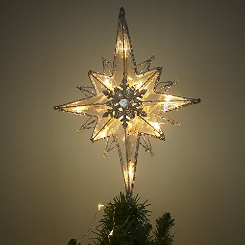 Bethlehem Christmas Tree Topper (Valery Madelyn 13.5 Inch Pre-Lit Frozen Winter Silver and White Christmas Tree Topper, Bethlehem Tree Top Star with 10 Warm LED Lights, Battery Operated, Themed with Christmas Ornaments (Not Included))