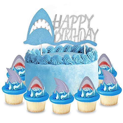 Price comparison product image KREATWOW Shark Cake Topper Decorations for Shark Splash Party Supplies