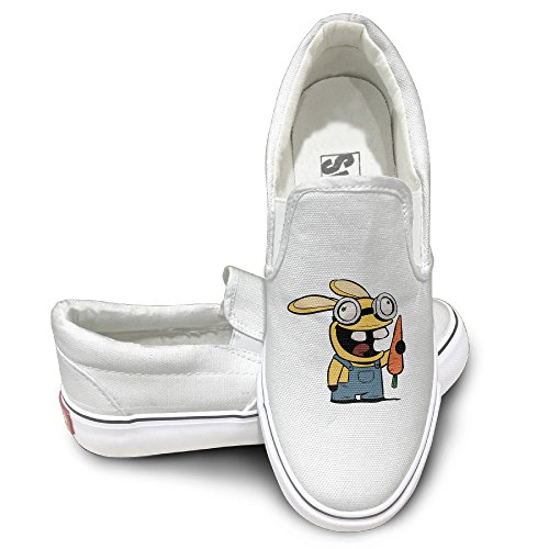 EWIED Unisex Classic Cartoon Crazy Rabbit And Carrot Slip-On Shoes White Size44 (Crazy Chicken Costume compare prices)
