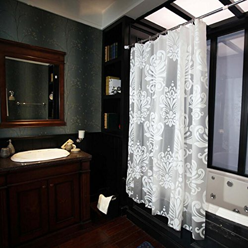 Shower Curtain Wekity EVA Translucent Waterproof Anti-mold Digital Printing Bath Shower Curtains Hotel or In-home Bathroom Curtain Liner with Copper Hole &12 Hooks (70x70 inch)
