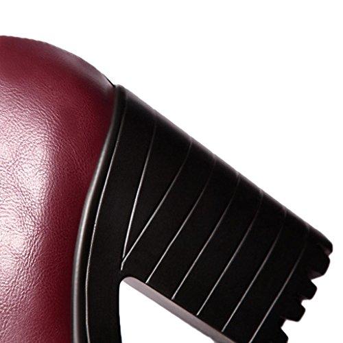 Hee Vintage Vin Talons Dentelle Grand Chaussure Femme Epais Rouge rnOP6qrW