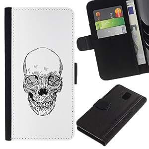 KingStore / Leather Etui en cuir / Samsung Galaxy Note 3 III / Cráneo de la muerte del motorista de la cuadrilla blanca Lápiz