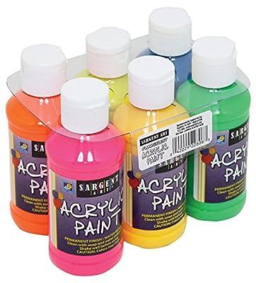 22-2806 Sargent Art Fluorescent Acrylic Paint Set, 4 Ounce, 6-Pack